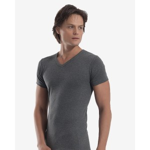 Мужская футболка с V-образным вырезом A-1062 (серый, темно-серый)