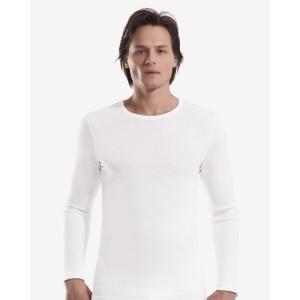 Белый мужской лонгслив Oztas A-1020